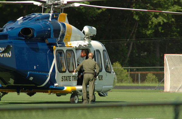 "<div class=""meta ""><span class=""caption-text "">Gov. Christie arrives by state police helicopter Tuesday afternoon at St. Joseph Regional High School in Montvale for the school's baseball game against Delbarton. Christie's son Andrew plays for Delbarton.   Photo Credit: Christopher Costa of Mahwah Patch</span></div>"