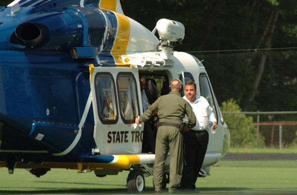 Gov. Christie arrives by state police helicopter Tuesday afternoon at St. Joseph Regional High School in Montvale for the school's baseball game against Delbarton. Christie's son Andrew plays for Delbarton.   Photo Credit: Christopher Costa of Mahwah Patch