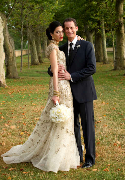 "In this July 10, 2010, file photo provided by Marie Ternes, Rep. Anthony Weiner, D-N.Y., poses with his wife Huma Abedin, close aide to Secretary of State Hillary Rodham Clinton, for a formal wedding portrait at the Oheka Castle in Huntington, N.Y. Weiner confessed Monday, June 6, 2011, that he tweeted a bulging-underpants photo of himself to a young woman and admitted to ""inappropriate"" exchanges with six women before and after getting married. (AP Photo/Barbara Kinney, File)"