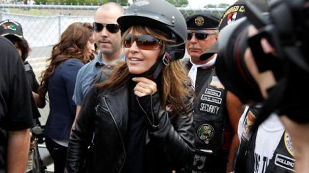 Sarah Palin, former GOP vice presidential candidate and Alaska governor, arrives at the beginning of Rolling Thunder at the Pentagon Sunday, May 29, 2011, during the Memorial Day weekend in Washington. (AP Photo/Alex Brandon)