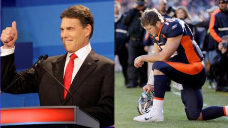 Republican presidential candidate Texas Gov. Rick Perry and Denver Broncos quarterback Tim Tebow. (AP Photos)