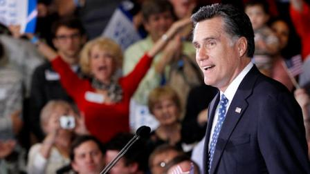 Republican presidential candidate, former Massachusetts Gov. Mitt Romney, celebrates his Florida primary election win at the Tampa Convention Center in Tampa, Fla., Tuesday, Jan. 31, 2012. (AP Photo/Charles Dharapak)
