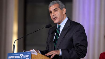 U.S. Senate candidate Joe Kyrillos speaks at a Tax Day Tea Summit held at the Franklin Institute in Philadelphia, Monday, April 16, 2012. (AP Photo/Jae C. Hong)