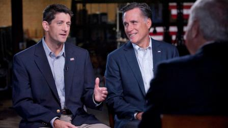 GOP Presidential nominee Mitt Romney and his newly chosen VP running mate Paul Ryan, left, talk with Bob Schieffer of 60 Minutes on CBS, Sunday, Aug. 12, 2012. (AP Photo/CBS News, Chris Usher)