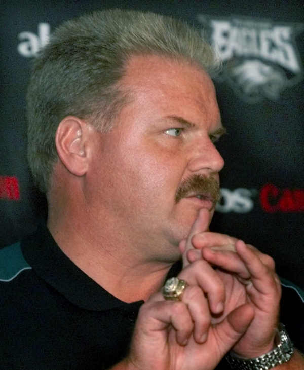 Philadelphia Eagles head coach Andy Reid speaks during a news conference Monday, Oct. 10, 1999 in Philadelphia. The Eagles upset the Dallas Cowboys 13-10 on Sunday. (AP Photo/Rusty Kennedy)