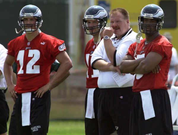 Philadelphia Eagles head coach Andy Reid, second from right, watches a drill with quarterbacks Donovan McNabb, right, Ron Powlus, second from left, and Travis Brown, left, during the first day of training camp at Lehigh Univeristy in Bethlehem, Pa., Sunday, July 16, 2000. McNabb will be the starting quarterback for the Eagles. (AP Photo/Chris Gardner)