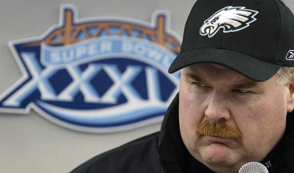 Philadelphia Eagles coach Andy Reid talks with reporters at Alltel Stadium in Jacksonville, Fla., on Tuesday, Feb. 1, 2005. Reid spoke with the over 1,000 reporters who gathered at the stadium for Media Day prior to Super Bowl XXXIX which will feature the Eagles against the New England Patriots. (AP Photo/Amy Sancetta)