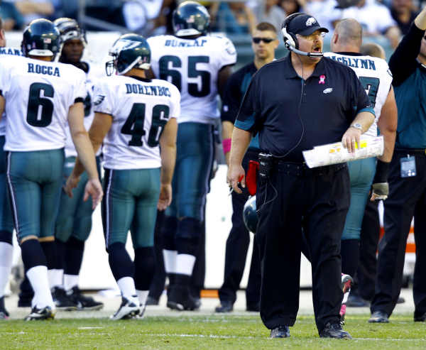 Philadelphia Eagles head coach Andy Reid shouts to his players from the sidelines late in the second half of an NFL football game against the Atlanta Falcons Sunday, Oct. 17, 2010, in Philadelphia. The Eagles won 31-17.(AP Photo/Mel Evans)