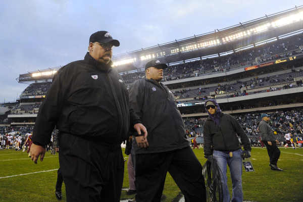 Philadelphia Eagles coach Andy Reid walks off the field after an NFL football game against the Washington Redskins, Sunday, Jan. 1, 2012, in Philadelphia. Philadelphia won 34-10. (AP Photo/Michael Perez)