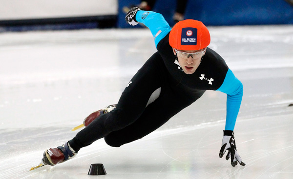 Chris Creveling, who resides in Bucks County, competes in the men's 1,000 meters during the U.S. Olympic short track speedskating trials Sunday, Jan. 5, 2014, in Kearns, Utah. (AP Photo/Rick Bowmer)