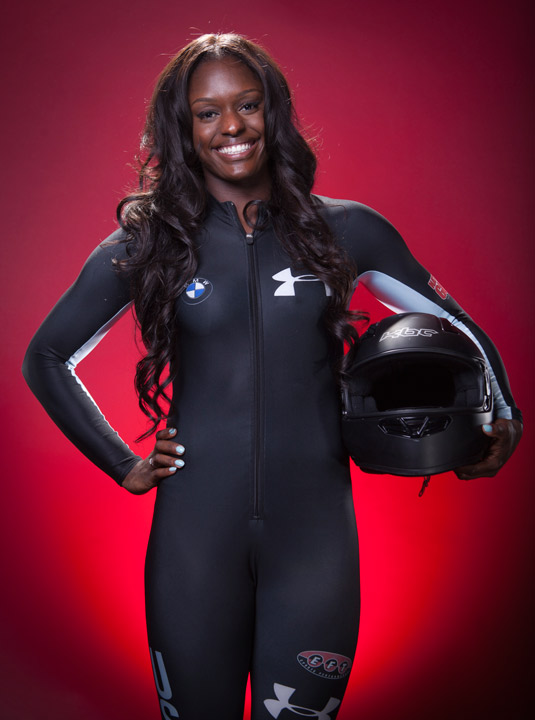 United States Olympic Winter Games bobsledder Aja Evans poses for a portrait at the 2013 Team USA Media Summit on Monday, September 30, 2013 in Park City, UT. Her uncle is Gary Matthews, former Philadelphia Philllies outfielder and broadcaster. (AP Photo/Carlo Allegri)