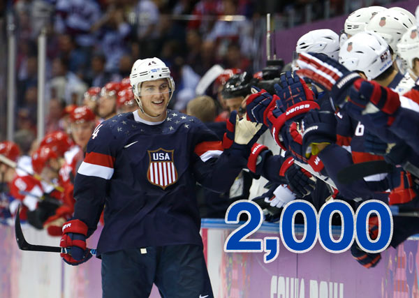 By The Numbers: Olympic Hero T.J. Oshie   2,000: Warroad, a town of fewer than 2,000 people that's 6 miles south of the Canadian border, has the Midas touch: No U.S. men's team has ever won a gold medal without having a Warroad player on its roster.    PHOTO: USA forward T.J. Oshie is greeted by treammates after scoring a goal during a shootout against Russia in overtime of a men's ice hockey game at the 2014 Winter Olympics, Saturday, Feb. 15, 2014, in Sochi, Russia. (AP Photo/Mark Humphrey)