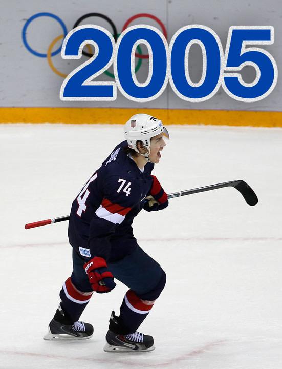 2005: T.J. Oshie was a first-round draft choice by the St. Louis Blues in 2005.    PHOTO: USA forward T.J. Oshie reacts after scoring the winning goal in a shootout against Russia during overtime of a men's ice hockey game at the 2014 Winter Olympics, Saturday, Feb. 15, 2014, in Sochi, Russia. The USA won 3-2. (AP Photo/Petr David Josek)