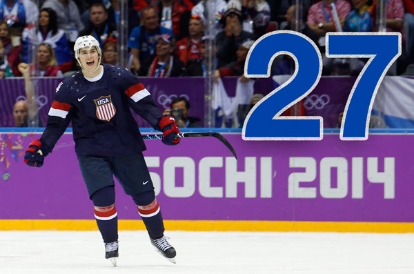 By The Numbers: Olympic Hero T.J. Oshie   27: T.J. Oshie is a 27-year-old forward on the St. Louis Blues.    PHOTO: USA forward T.J. Oshie reacts after scoring the winning goal in a shootout against Russia during overtime of a men's ice hockey game at the 2014 Winter Olympics, Saturday, Feb. 15, 2014, in Sochi, Russia. (AP Photo/Mark Humphrey)