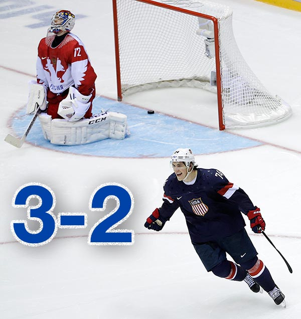 By The Numbers: Olympic Hero T.J. Oshie    3-2: T.J. Oshie led the U.S. men's team to a dramatic 3-2 shootout win over Russia in Sochi on Saturday, February 15, 2014.      PHOTO: USA forward T.J. Oshie reacts after scoring the winning goal against Russia goaltender Sergei Bobrovski in a shootout during overtime of a men's ice hockey game at the 2014 Winter Olympics, Saturday, Feb. 15, 2014, in Sochi, Russia. (AP Photo/David J. Phillip )