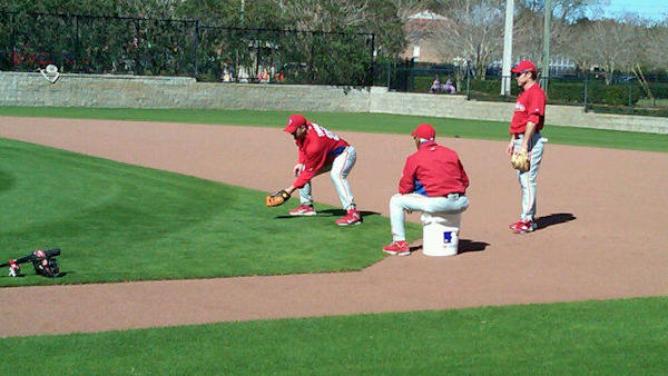 From Action News sports reporter Jeff Skversky: Jim Thome taking grounders at 1st where he'll likely play once or twice a week until Howard is back