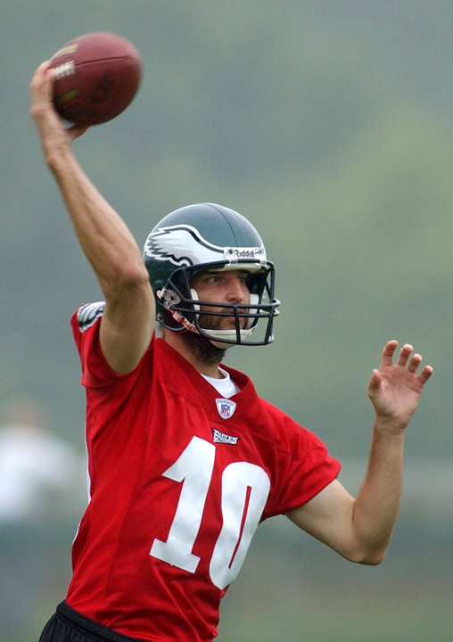 "<div class=""meta image-caption""><div class=""origin-logo origin-image ""><span></span></div><span class=""caption-text"">Philadelphia Eagles back-up quarterback Koy Detmer passes during a drill at training camp, Friday, July, 30, 2004, in Bethlehem, Pa. Koy Detmer was a backup to Donovan McNabb.  (AP Photo/Bradley C. Bower)  </span></div>"