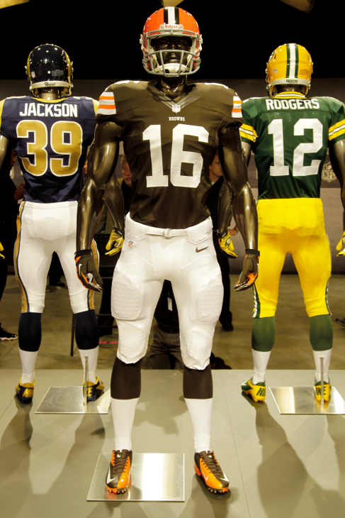 The new Cleveland Browns uniform is displayed on a mannequin in New York, Tuesday, April 3, 2012. NFL has unveiled its new sleek uniforms designed by Nike. While most of the new uniforms are not very different visually, they all are made with new technology that make them lighter, dryer and more comfortable. (AP Photo/Seth Wenig)