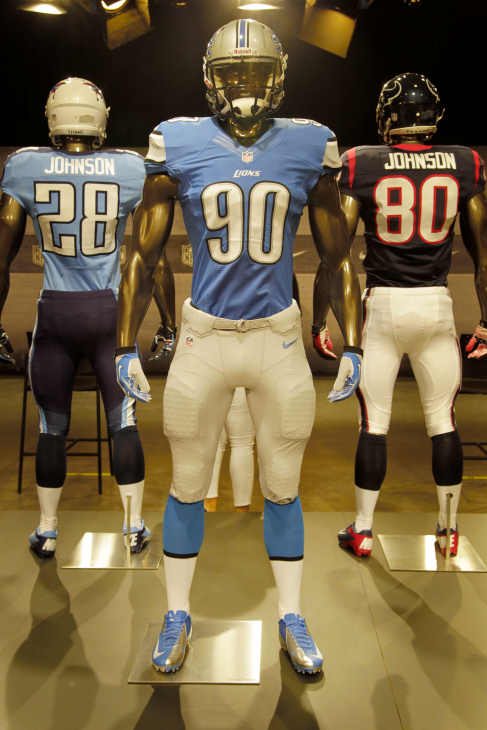 The new Detroit Lions uniform is displayed on a mannequin in New York, Tuesday, April 3, 2012. NFL has unveiled its new sleek uniforms designed by Nike. While most of the new uniforms are not very different visually, they all are made with new technology that make them lighter, dryer and more comfortable. (AP Photo/Seth Wenig)