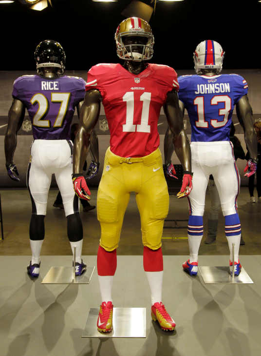 The new San Francisco 49ers uniform is displayed on a mannequin in New York, Tuesday, April 3, 2012. NFL has unveiled its new sleek uniforms designed by Nike. While most of the new uniforms are not very different visually, they all are made with new technology that make them lighter, dryer and more comfortable. (AP Photo/Seth Wenig)