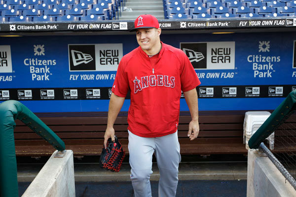"<div class=""meta image-caption""><div class=""origin-logo origin-image ""><span></span></div><span class=""caption-text"">Mike Trout takes the field before the start of a baseball game with the Philadelphia Phillies, Tuesday, May 13, 2014, in Philadelphia.  (Photo/Laurence Kesterson)</span></div>"