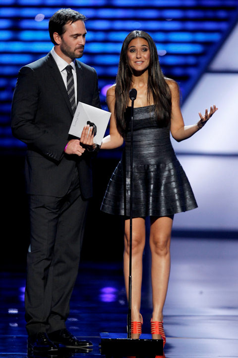 Jimmie Johnson and Emmanuelle Chriqui present the award for Breakthrough Athlete at the ESPY Awards on Wednesday, July 13, 2011, in Los Angeles. (AP Photo/Matt Sayles)