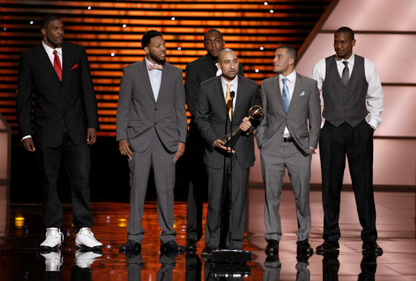 Virginia Commonwealth University (VCU) accepts the award for Best Upset at the ESPY Awards on Wednesday, July 13, 2011, in Los Angeles. (AP Photo/Matt Sayles)