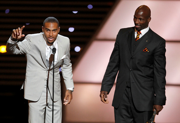 Philadelphia Eagles DeSean Jackson and LeSean McCoy accept the award for Best Game at the ESPY Awards on Wednesday, July 13, 2011, in Los Angeles. (AP Photo/Matt Sayles)