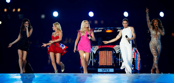 British band 'The Spice Girls' perform during the Closing Ceremony at the 2012 Summer Olympics, Sunday, Aug. 12, 2012, in London. (AP Photo/Matt Dunham)