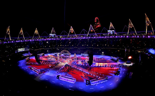 The Olympic Stadium is shown during the Closing Ceremony at the 2012 Summer Olympics, Sunday, Aug. 12, 2012, in London. (AP Photo/David J. Phillip)