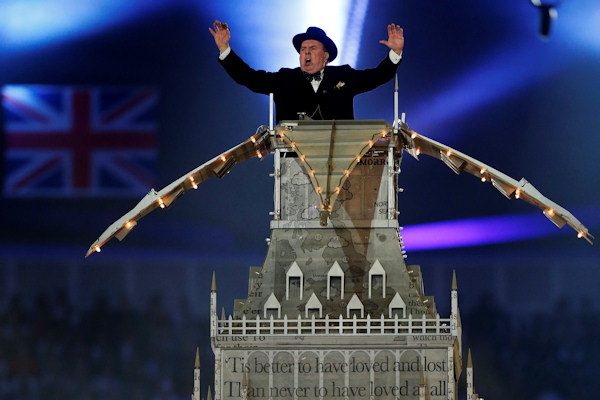 Actor Timothy Spall portrays Winston Churchill as he delivers a speech during the Closing Ceremony at the 2012 Summer Olympics, Sunday, Aug. 12, 2012, in London. (AP Photo/Matt Dunham)