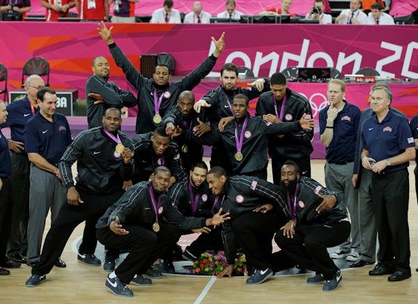 "<div class=""meta ""><span class=""caption-text "">Members of the United States men's basketball team display the gold medal during a ceremony at the 2012 Summer Olympics, Sunday, Aug. 12, 2012, in London. (AP Photo/Matt Slocum)  </span></div>"