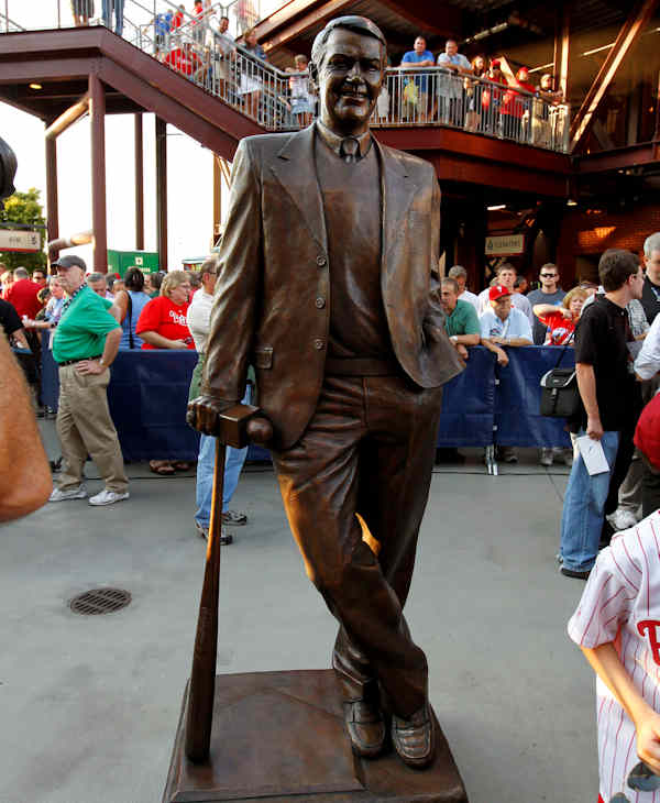 The newly unveiled statue of Hall of Fame broadcaster Harry Kalas is displayed before a baseball game between the Philadelphia Phillies and the Arizona Diamondbacks Tuesday, Aug. 16, 2011, in Philadelphia. (AP Photo/Alex Brandon)