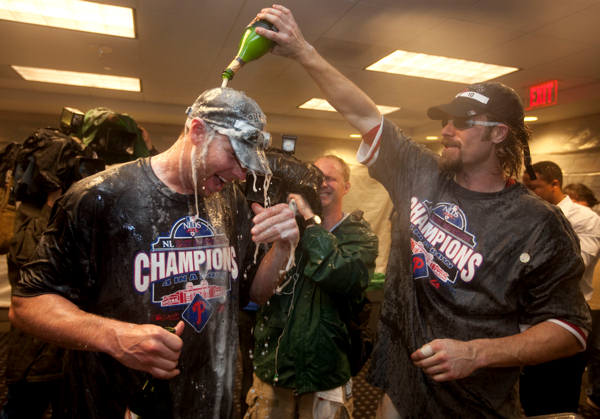 "<div class=""meta image-caption""><div class=""origin-logo origin-image ""><span></span></div><span class=""caption-text"">Philadelphia Phillies pitcher Roy Halladay, left, celebrates with teammate Jayson Werth after the Phillies  beat the Washington Nationals 8-0 to clinch the National League East on Monday, Sept. 27, 2010, in Washington. Halladay pitched a complete game and Werth had four RBIs. (AP Photo/Evan Vucci)</span></div>"