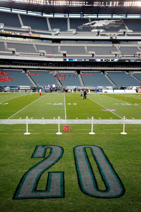 The number of former Philadelphia Eagles safety Brian Dawkins is painted on the sideline at Lincoln Financial Field before an NFL football game between the Eagles and the New York Giants Sunday, Sept. 30, 2012, in Philadelphia. (AP Photo/Michael Perez)