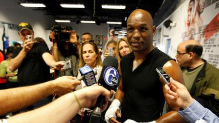 In this Tuesday, May 10, 2011, boxer Bernard Hopkins speaks with members of the media in Philadelphia.