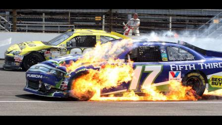 Matt Kenseths car catches fire after an accident during the NASCAR Sprint Cup Series Brickyard 400 auto race at Indianapolis Motor Speedway in Indianapolis, Sunday, July 29, 2012. (AP Photo/Ron Sanders)
