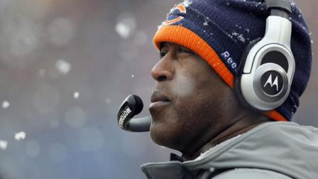 Chicago Bears head coach Lovie Smith watches his team play during the first half an NFL divisional playoff football game against the Seattle Seahawks, Sunday, Jan. 16, 2011, in Chicago.