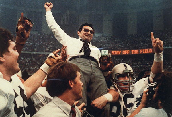 This Jan. 2, 1983 file photo shows Penn State football coach Joe Paterno being carried off the field following the Nittany Lions 27-23 defeat of Georgia in the Sugar Bowl, to claim the National Championship, at the Superdome in New Orleans.  <span class=meta>(AP Photo&#47;File)</span>