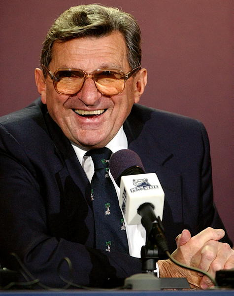 Penn State football coach Joe Paterno denied rumors that he planned to retire at a news conference Tuesday, Dec. 18, 2001, in State College, Pa. Paterno turned 75 that next Friday. &#40;AP Photo&#47;Pat Little&#41;  <span class=meta>(AP Photo&#47;Alan Diaz)</span>