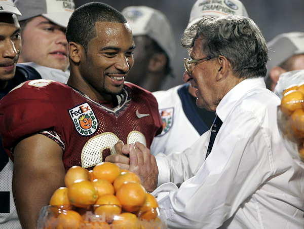 "<div class=""meta ""><span class=""caption-text "">Penn State coach Joe Paterno, right, talks with Florida State wide receiver Willie Reid following the Orange Bowl at Dolphins Stadium in Miami Tuesday Jan. 3, 2006. Penn State defeated Florida State 26-23 in triple overtime.  (AP Photo/Alan Diaz)</span></div>"