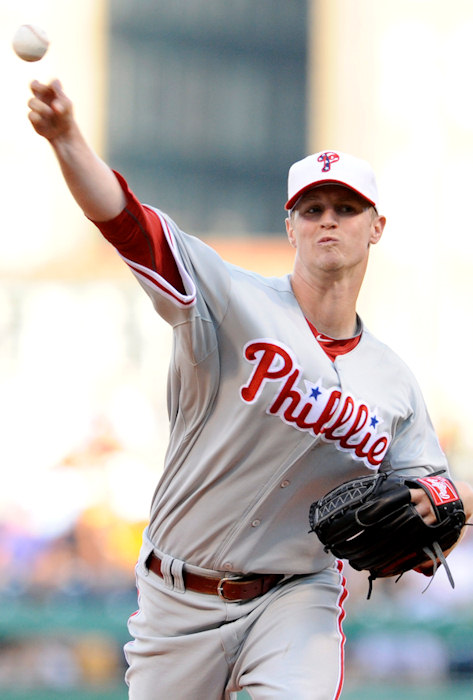 "<div class=""meta ""><span class=""caption-text "">Philadelphia Phillies pitcher Kyle Kendrick delivers a pitch against the Pittsburgh Pirates during the second inning of the baseball game in Pittsburgh, Saturday, July 3, 2010. (AP Photo/Don Wright)   ((AP Photo))</span></div>"