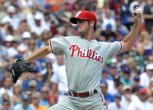Philadelphia Phillies starting pitcher Cole Hamels delivers during the first inning of a baseball game against the Chicago Cubs Saturday, July 17, 2010 at Wrigley Field in Chicago.  <span class=meta>( &#40;AP Photo&#47;Charles Rex Arbogast&#41;)</span>