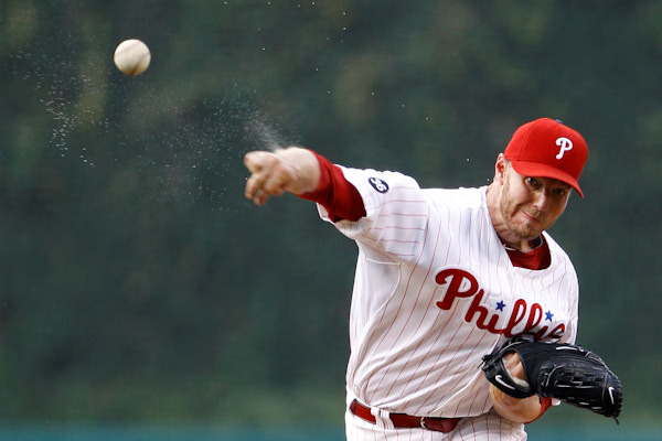 Philadelphia Phillies&#39; Roy Halladay pitches in the first inning of a baseball game against the Colorado Rockies, Friday, July 23, 2010, in Philadelphia. &#40;AP Photo&#47;Matt Slocum&#41;   <span class=meta>( &#40;AP Photo&#47;Matt Slocum&#41;  )</span>