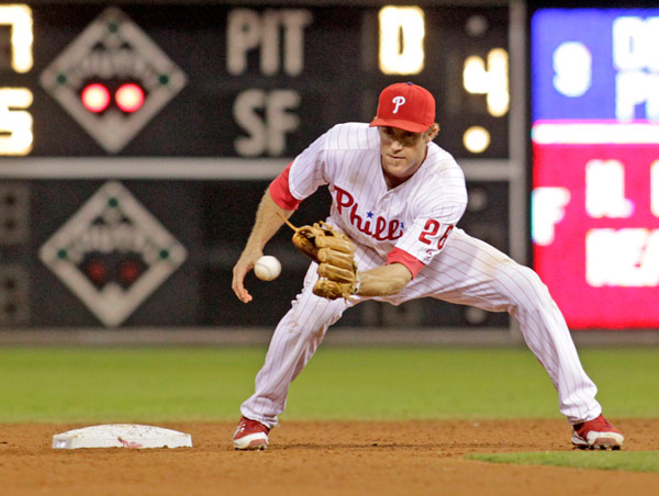 Philadelphia Phillies' Chase Utley in baseball action against the Arizona Diamondbacks , Saturday, Aug. 24, 2013, in Philadelphia. (AP Photo/H. Rumph Jr)