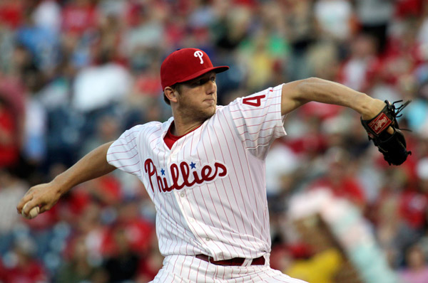 Philadelphia Phillies starting pitcher Ethan Martin throws against the Arizona Diamondbacks in the first inning of a baseball game, Saturday, Aug. 24, 2013, in Philadelphia. (AP Photo/H. Rumph Jr)