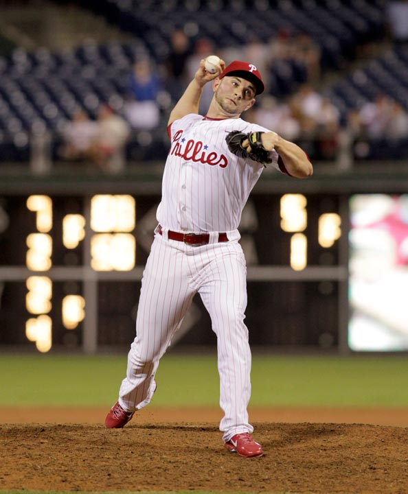 Philadelphia Phillies' Casper Wells in baseball action against the Arizona Diamondbacks , Sunday, Aug. 25, 2013, in Philadelphia. (AP Photo/H. Rumph Jr)