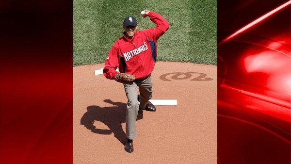 President Obama throws first pitch