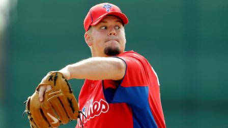 Philadelphia Phillies Joe Blanton during spring training baseball practice, Tuesday, Feb. 22, 2011 in Clearwater, Fla. (AP Photo/Eric Gay)