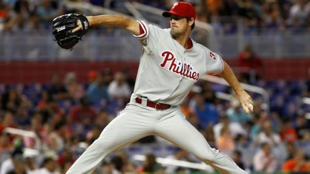Philadelphia Phillies starter Cole Hamels pitches during the second inning of a baseball game in Miami, Sunday, Sept. 30, 2012. (AP Photo/J Pat Carter)